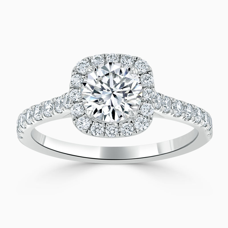 Platinum Round Brilliant Halo Cushion Shaped Engagement Ring