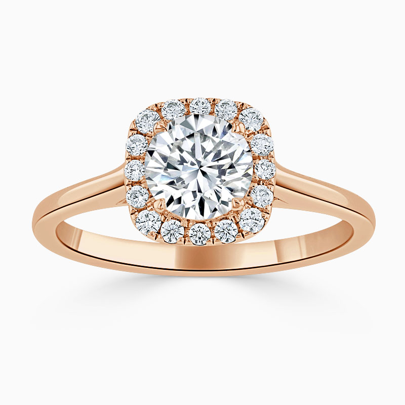 18ct Rose Gold Round Brilliant Plain Halo Cushion Shaped Engagement Ring