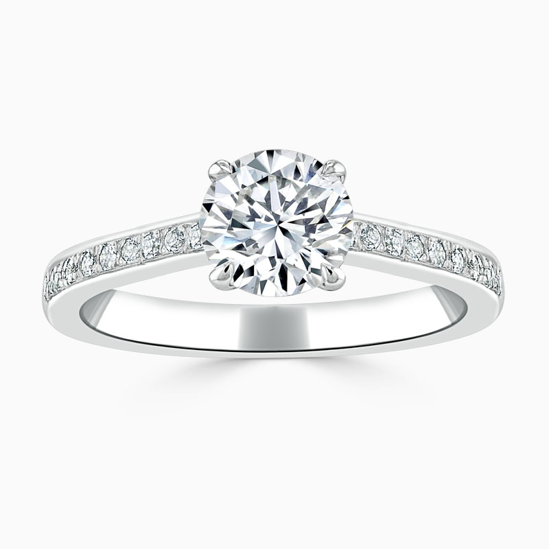 Platinum Round Brilliant Openset Pavé Engagement Ring