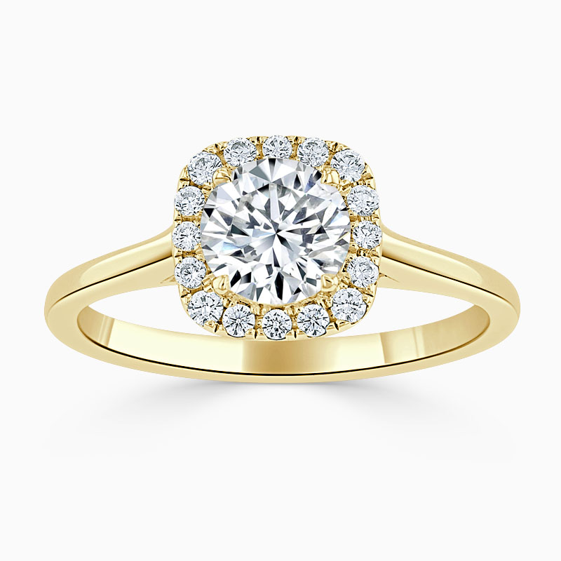 18ct Yellow Gold Round Brilliant Plain Halo Cushion Shaped Engagement Ring