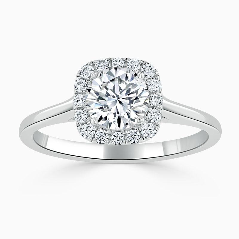 Platinum Round Brilliant Plain Halo Cushion Shaped Engagement Ring