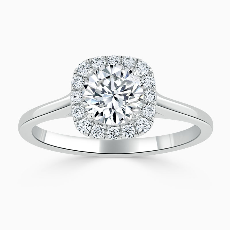 Platinum Round Brilliant Plain Halo Cushion Shaped Engagement Ring