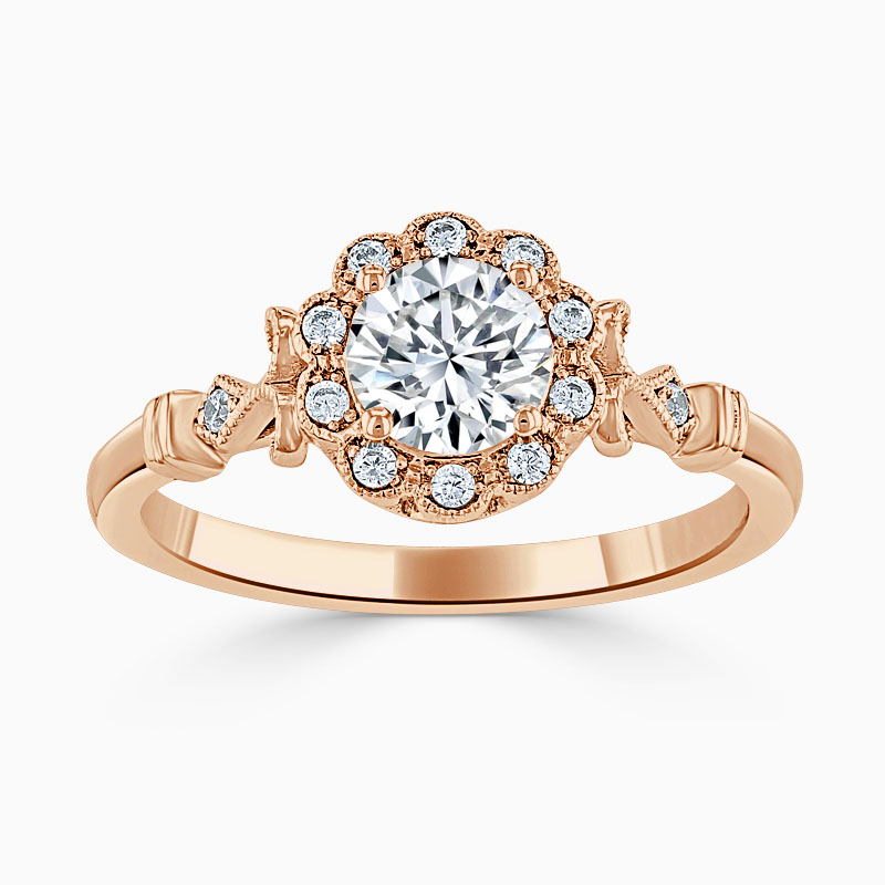 18ct Rose Gold Round Brilliant Flower Halo Engagement Ring