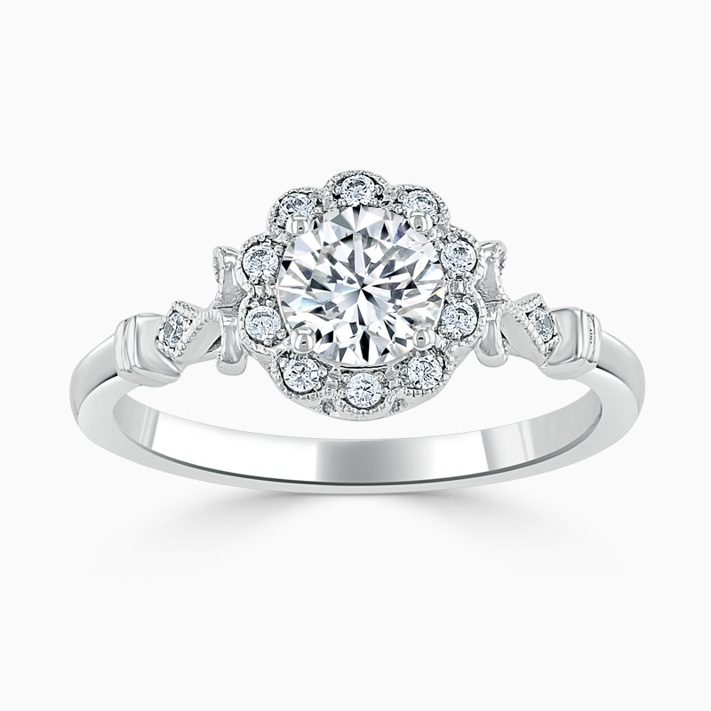18ct White Gold Round Brilliant Flower Halo Engagement Ring