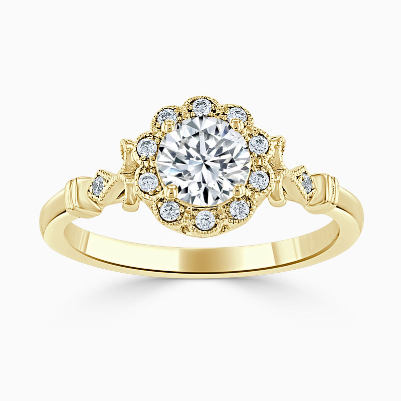 18ct Yellow Gold Round Brilliant Flower Halo Engagement Ring