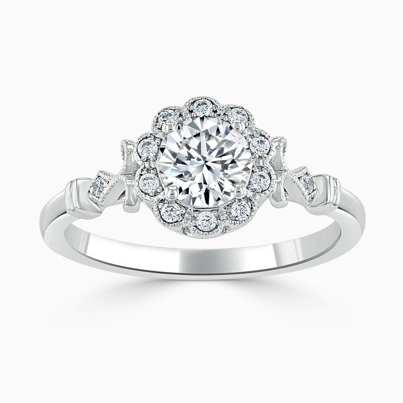 Platinum Round Brilliant Flower Halo Engagement Ring