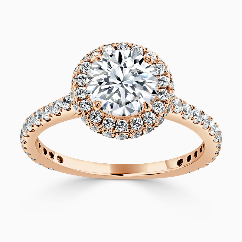 18ct Rose Gold Round Brilliant Original Halo Engagement Ring