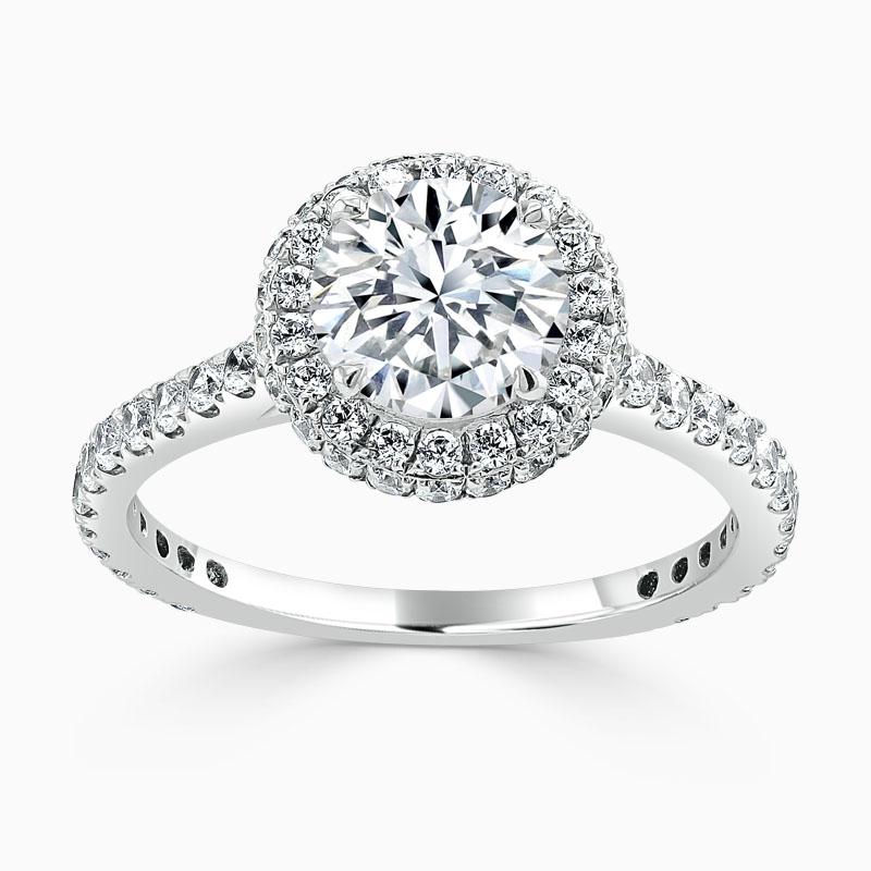 18ct White Gold Round Brilliant Original Halo Engagement Ring