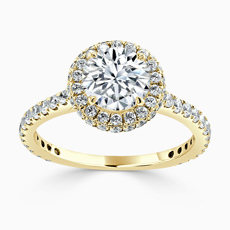 18ct Yellow Gold Round Brilliant Original Halo Engagement Ring