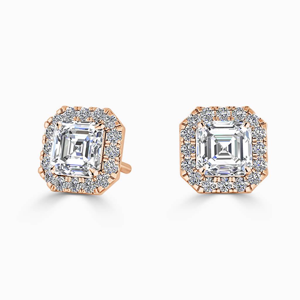 18ct Rose Gold Asscher Cut Halo Diamond Stud Earrings Diamond Earrings