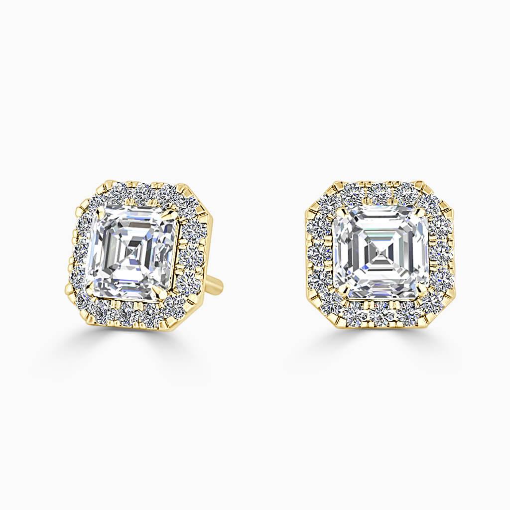 18ct Yellow Gold Asscher Cut Halo Diamond Stud Earrings Diamond Earrings