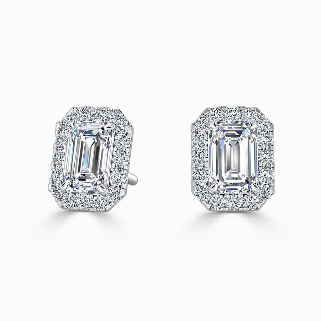 18ct White Gold Emerald Cut Halo Diamond Stud Earrings Diamond Earrings