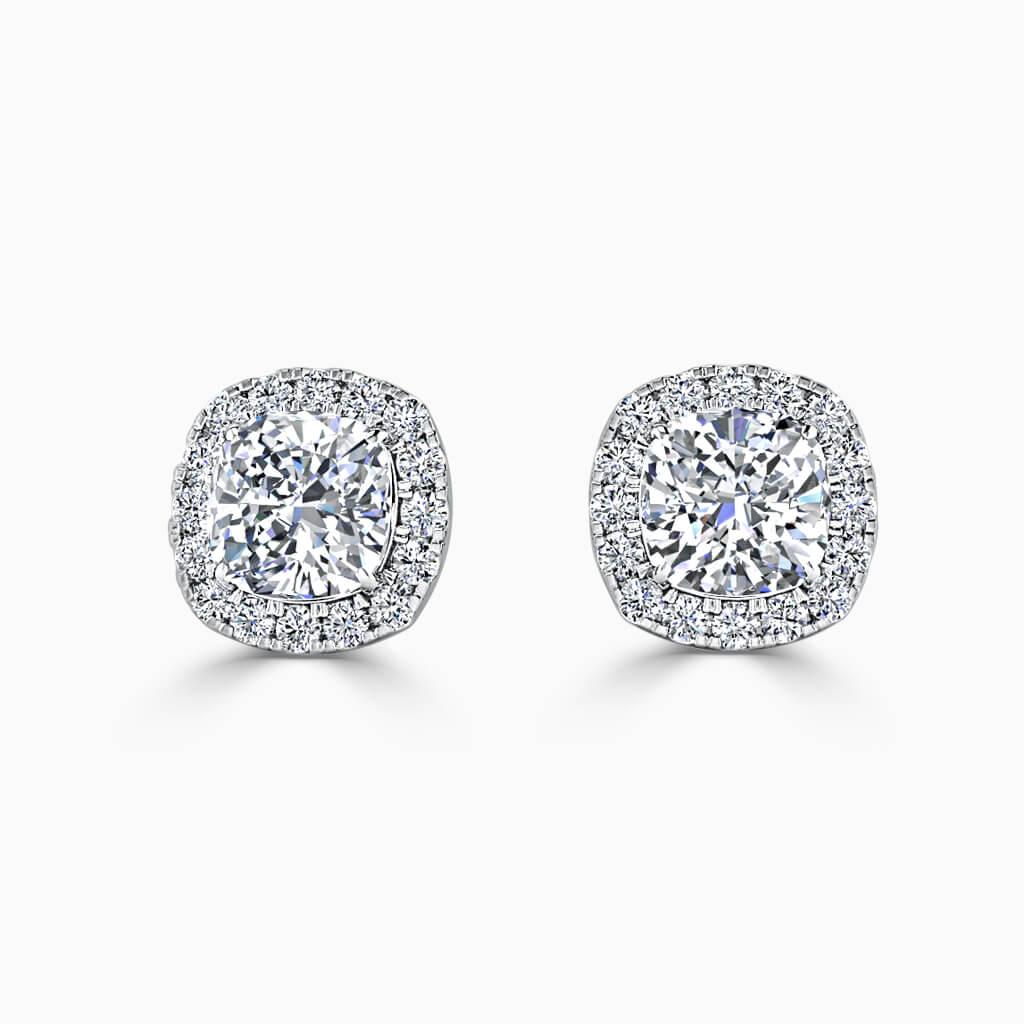 18ct White Gold Cushion Cut Halo Diamond Stud Earrings Diamond Earrings