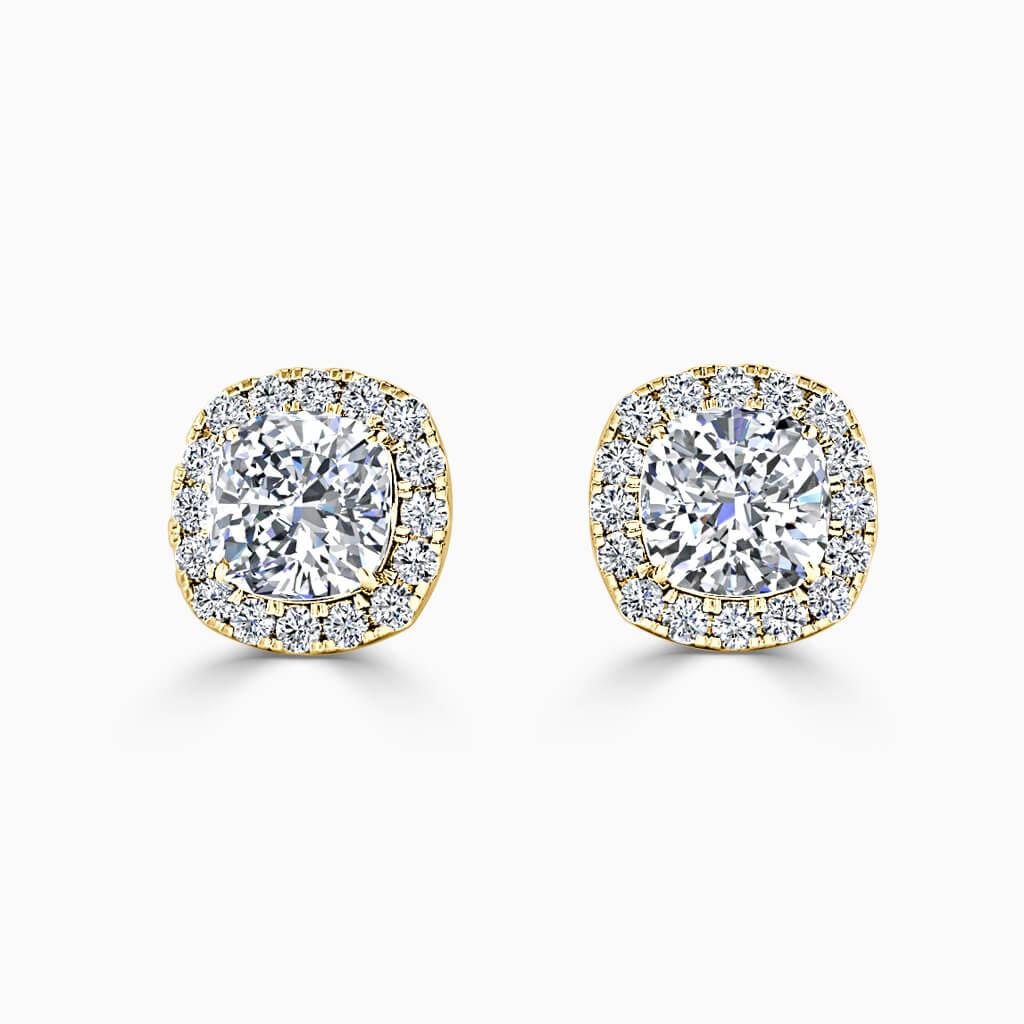 18ct Yellow Gold Cushion Cut Halo Diamond Stud Earrings Diamond Earrings