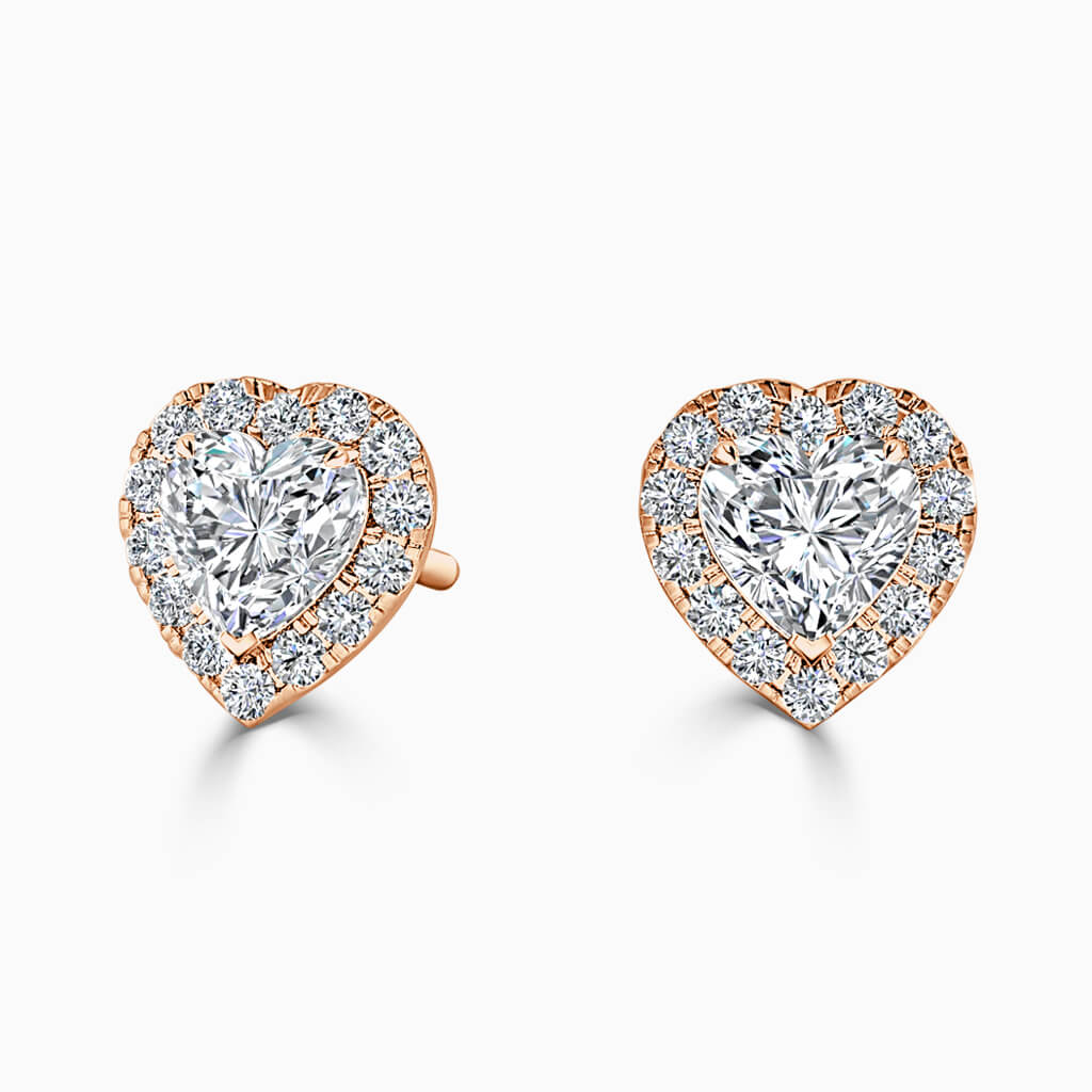 18ct Rose Gold Heart Shape Halo Diamond Stud Earrings Diamond Earrings
