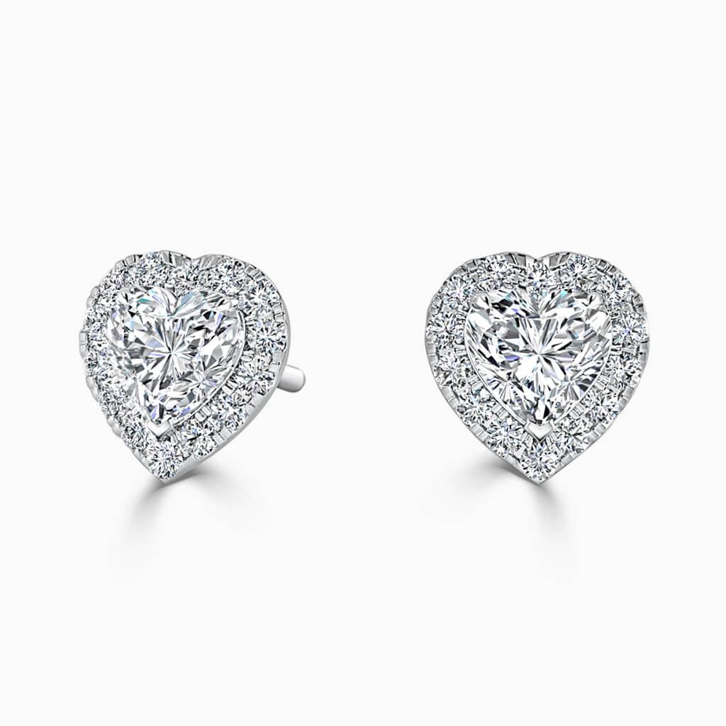 18ct White Gold Heart Shape Halo Diamond Stud Earrings Diamond Earrings