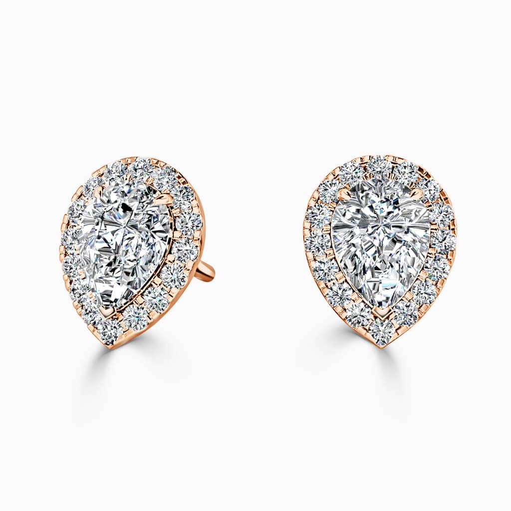18ct Rose Gold Pear Shape Halo Diamond Stud Earrings Diamond Earrings
