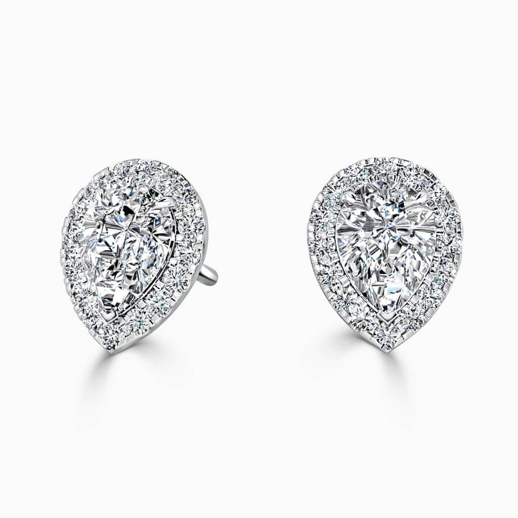 18ct White Gold Pear Shape Halo Diamond Stud Earrings Diamond Earrings