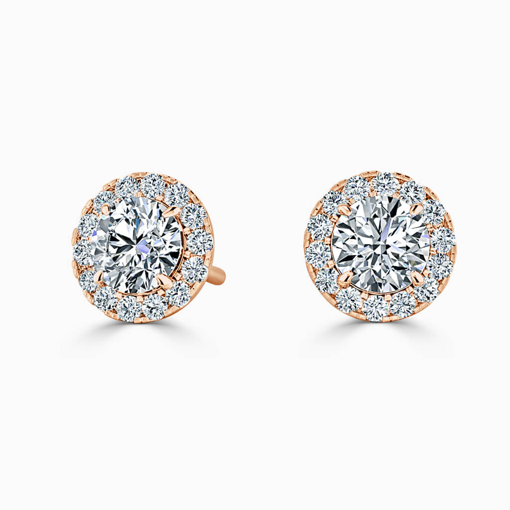 18ct Rose Gold Round Brilliant Halo Diamond Stud Earrings Diamond Earrings