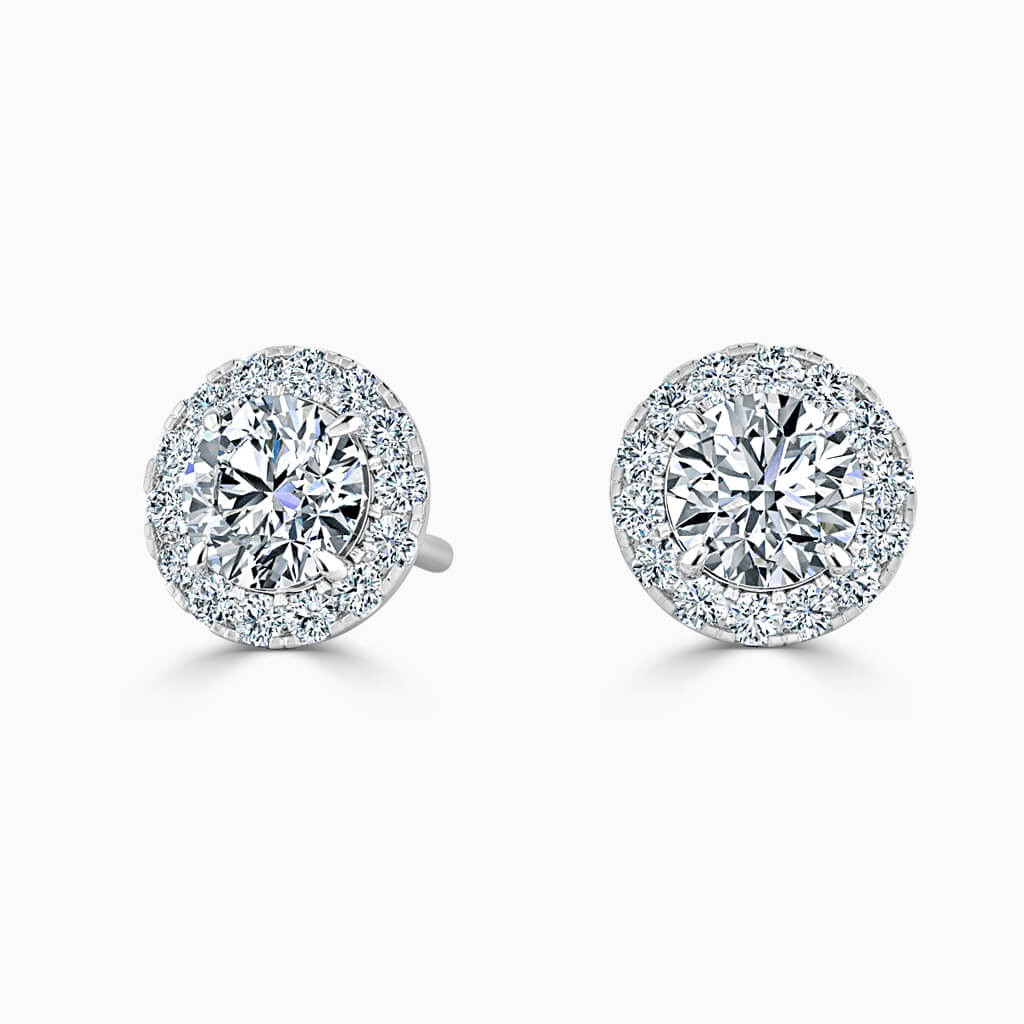 18ct White Gold Round Brilliant Halo Diamond Stud Earrings Diamond Earrings