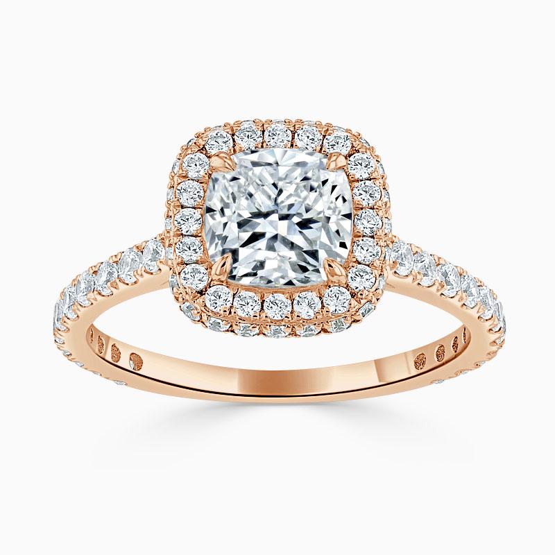 18ct Rose Gold Cushion Cut Original Halo Engagement Ring