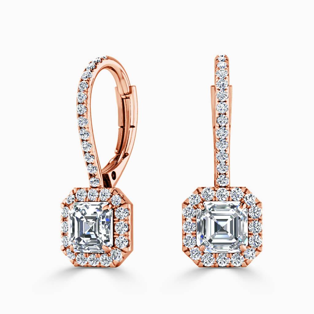 18ct Rose Gold Asscher Cut Cutdown Diamond Drop Halo Earrings Diamond Earrings
