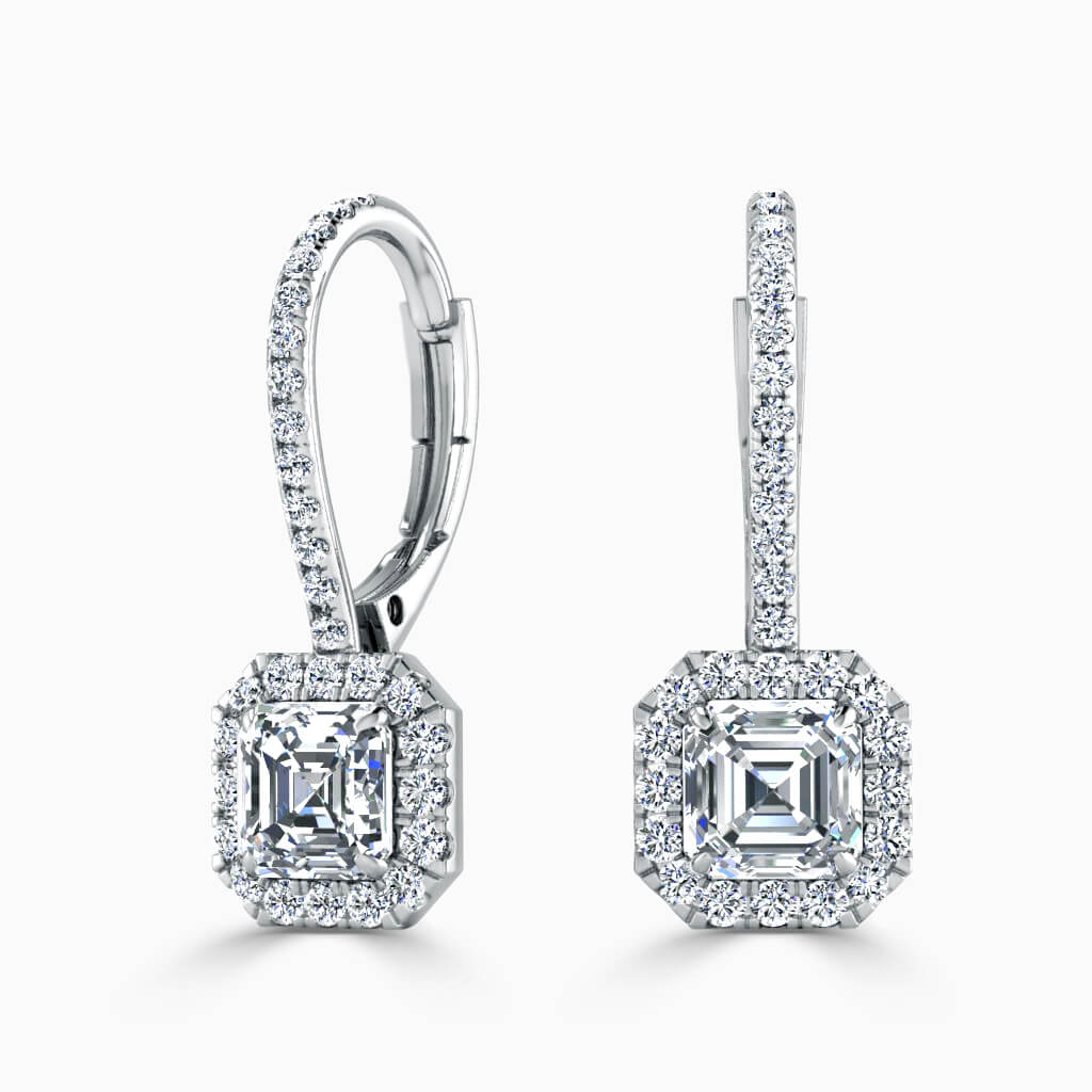 18ct White Gold Asscher Cut Cutdown Diamond Drop Halo Earrings Diamond Earrings