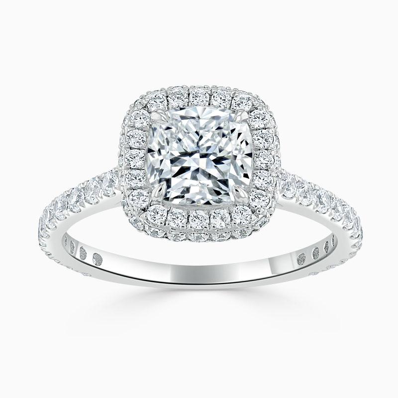 18ct White Gold Cushion Cut Original Halo Engagement Ring