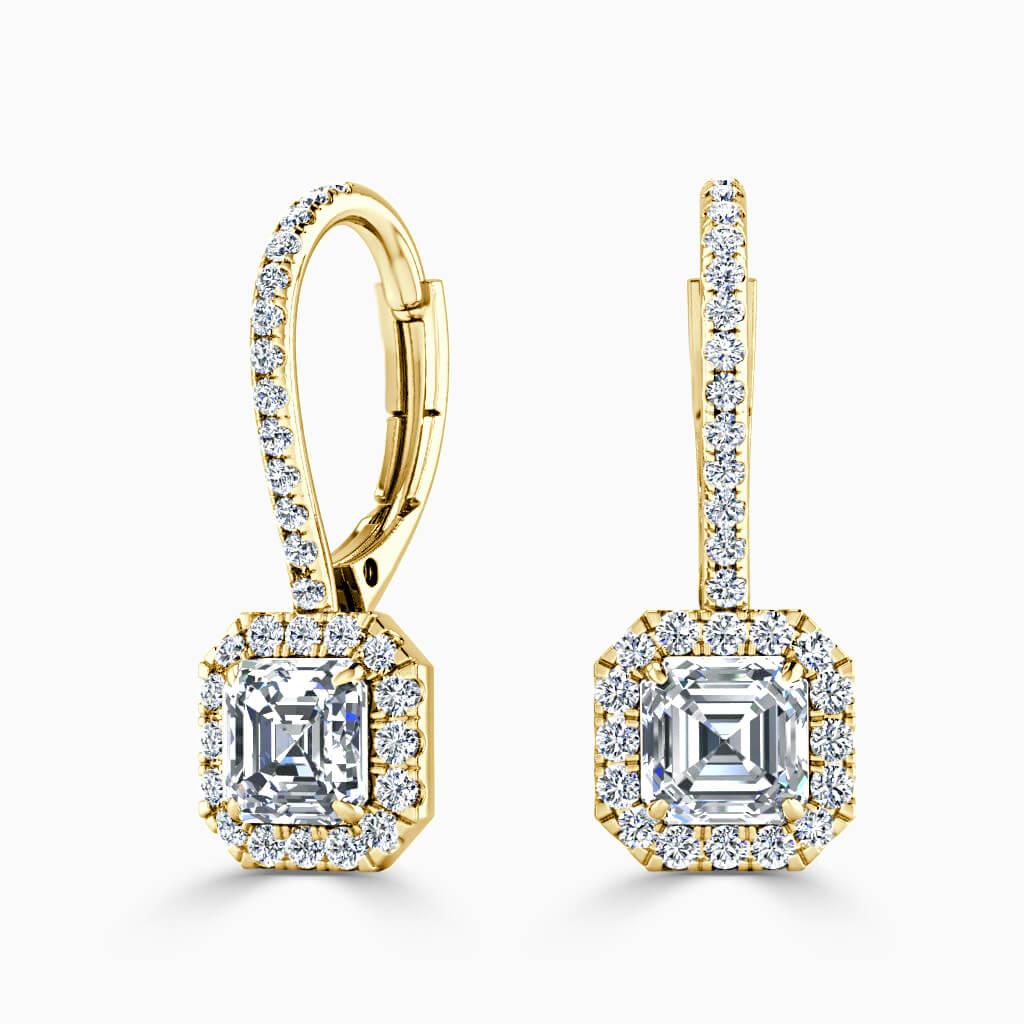 18ct Yellow Gold Asscher Cut Cutdown Diamond Drop Halo Earrings Diamond Earrings