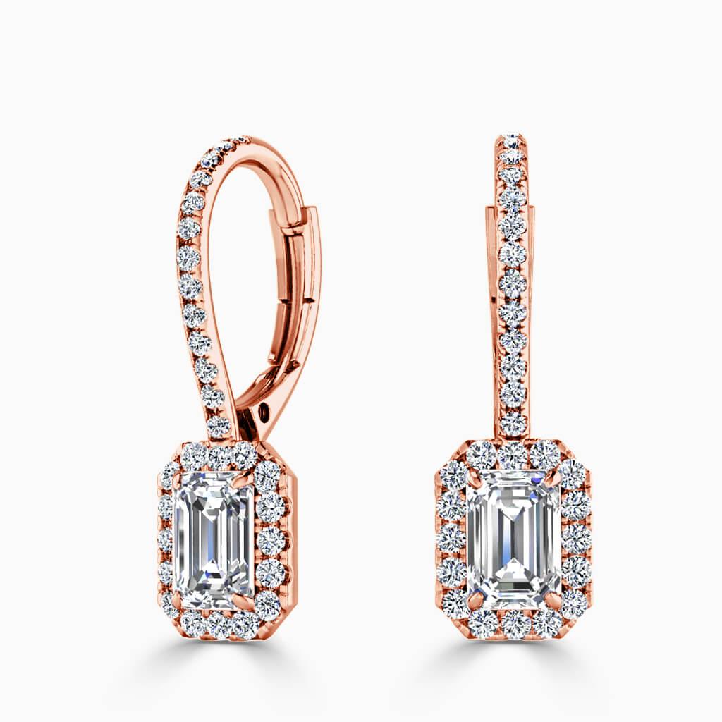 18ct Rose Gold Emerald Cut Cutdown Diamond Drop Halo Earrings Diamond Earrings