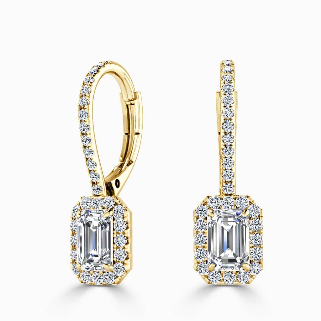 18ct Yellow Gold Emerald Cut Cutdown Diamond Drop Halo Earrings Diamond Earrings