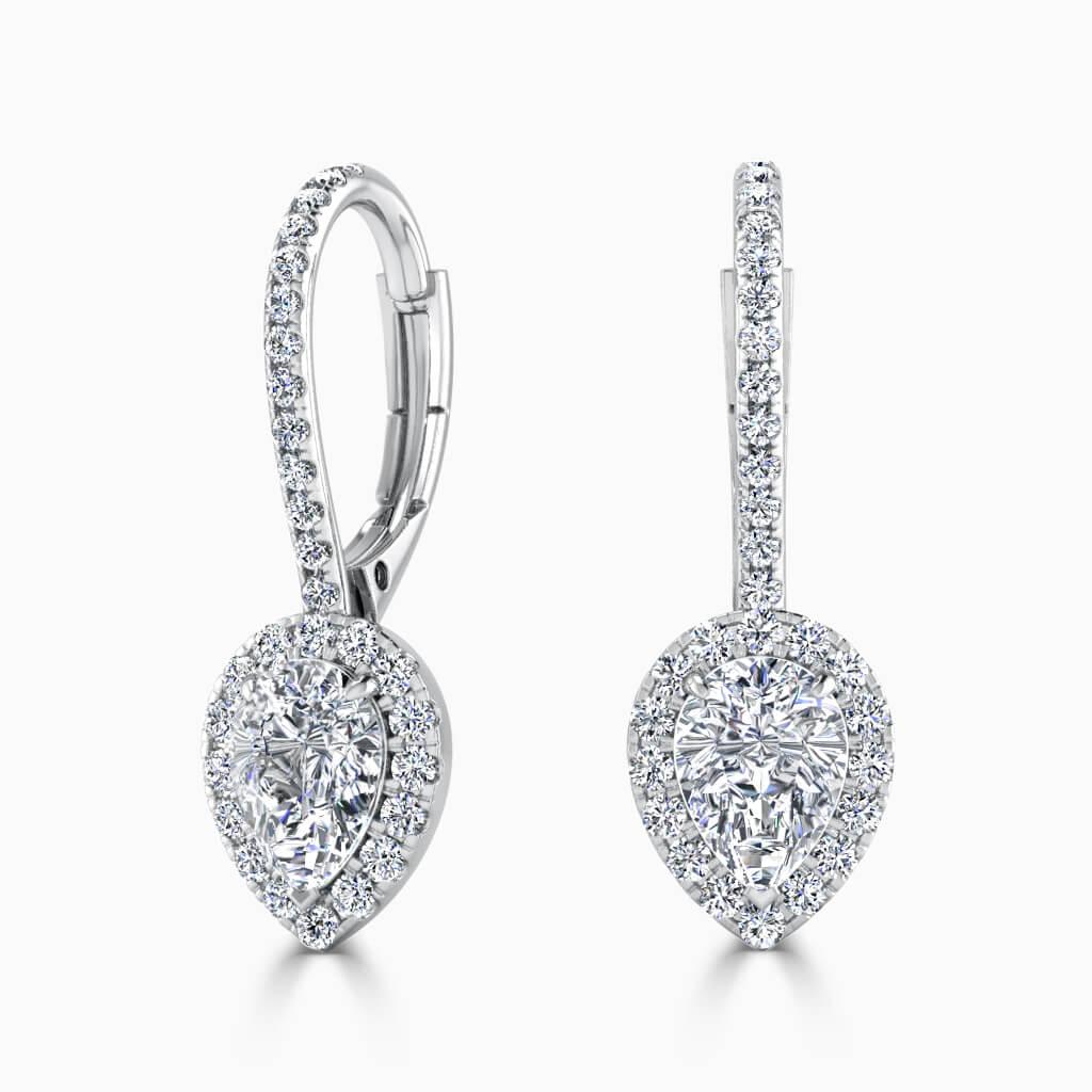 18ct White Gold Pear Shape Cutdown Diamond Drop Halo Earrings Diamond Earrings