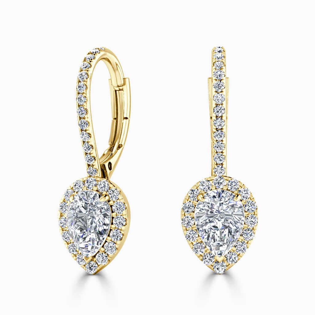 18ct Yellow Gold Pear Shape Cutdown Diamond Drop Halo Earrings Diamond Earrings