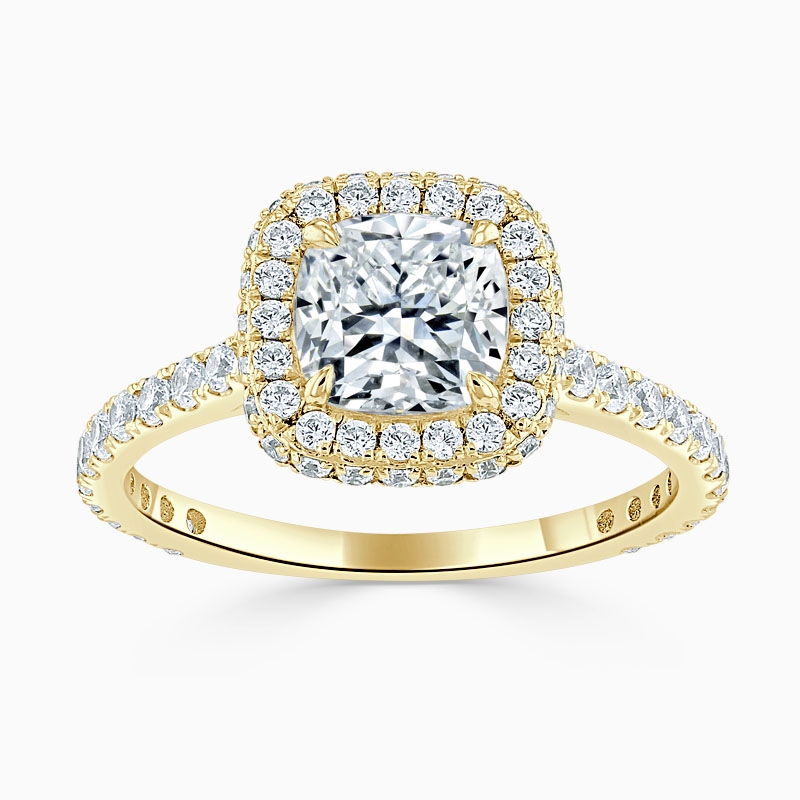 18ct Yellow Gold Cushion Cut Original Halo Engagement Ring