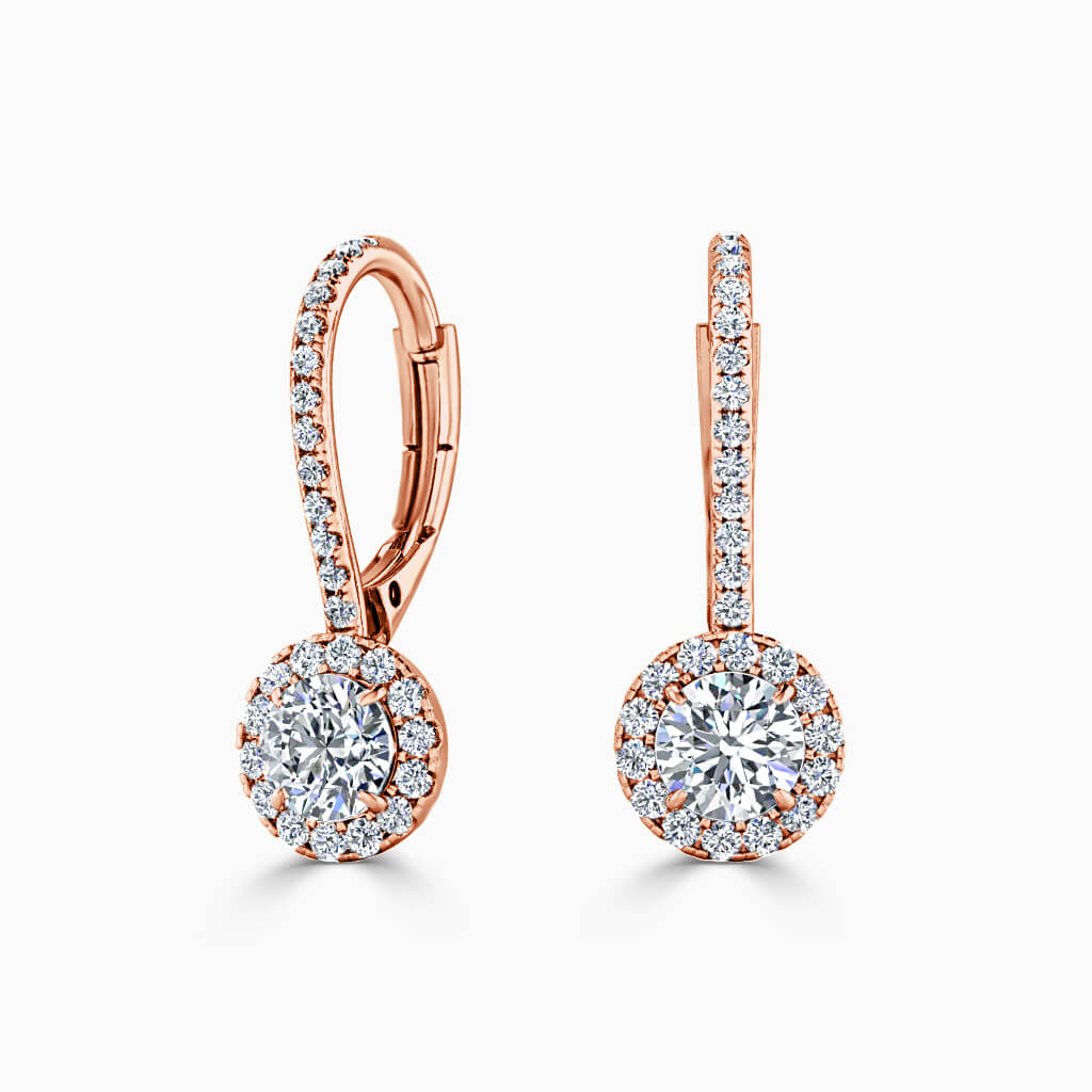 18ct Rose Gold Round Brilliant Cutdown Diamond Drop Halo Earrings Diamond Earrings