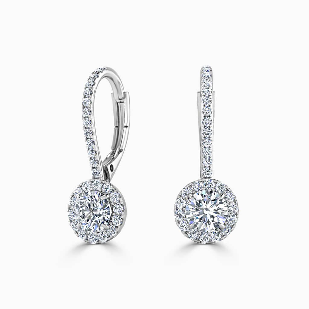 18ct White Gold Round Brilliant Cutdown Diamond Drop Halo Earrings Diamond Earrings
