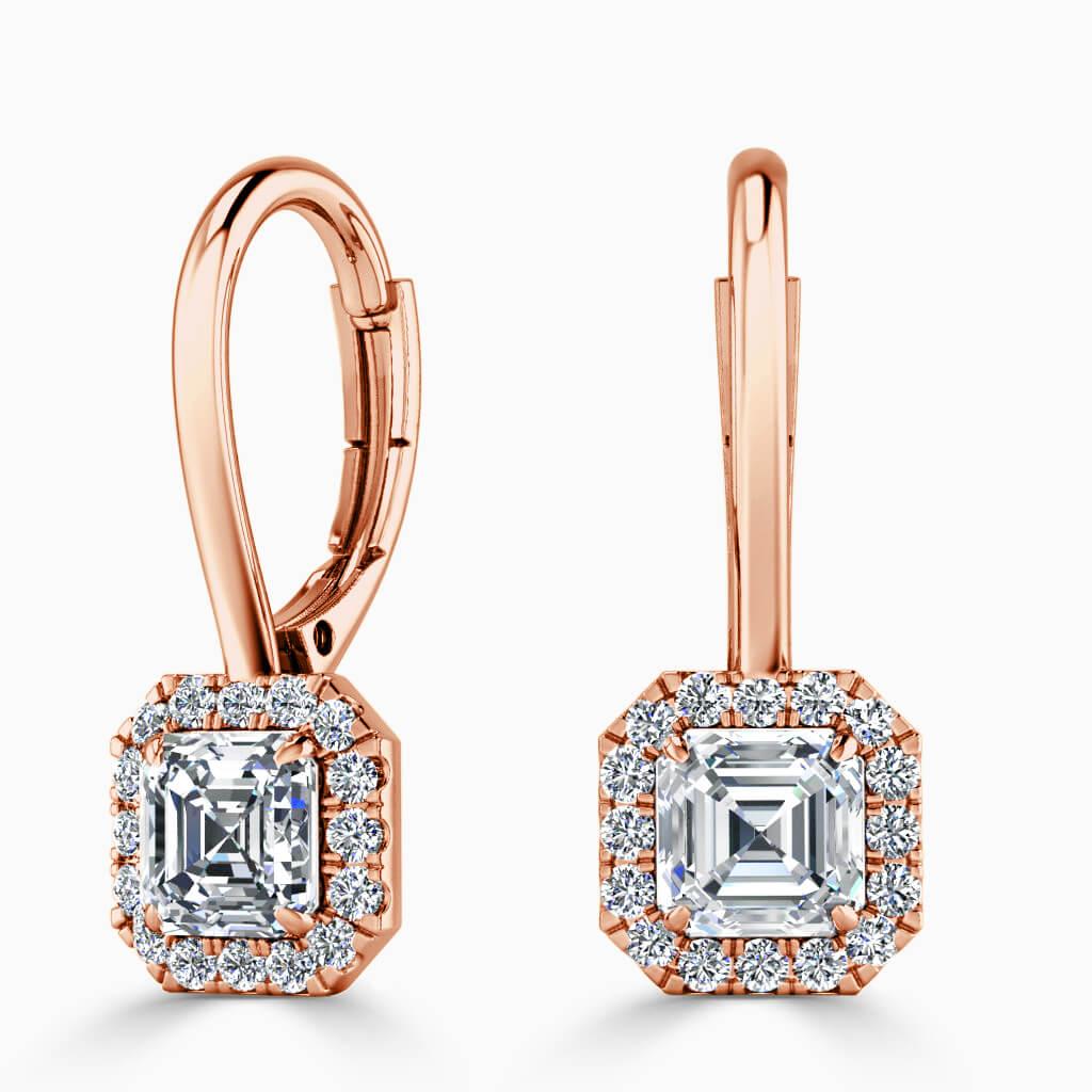18ct Rose Gold Asscher Cut Diamond Drop Halo Earrings Diamond Earrings