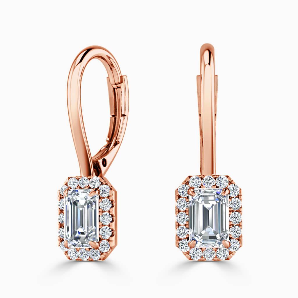 18ct Rose Gold Emerald Cut Diamond Drop Halo Earrings Diamond Earrings