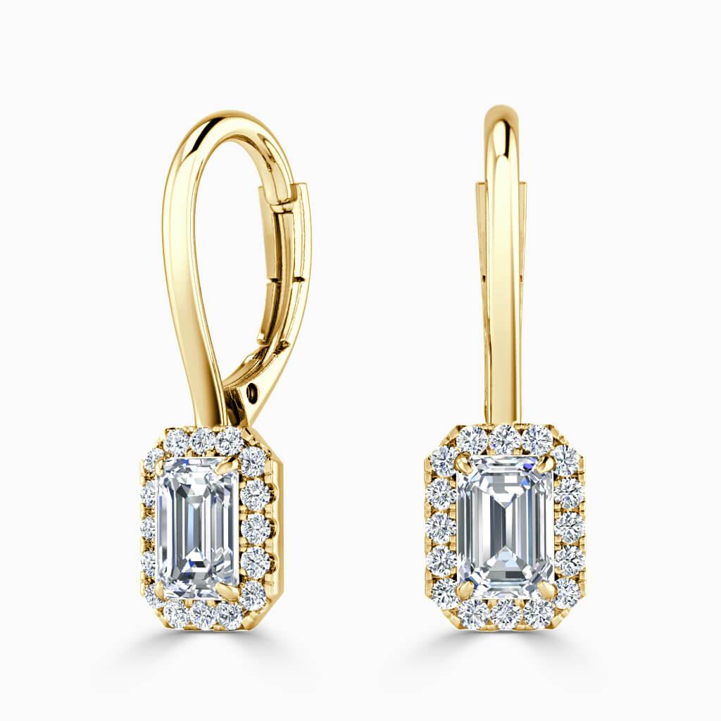 18ct Yellow Gold Emerald Cut Diamond Drop Halo Earrings Diamond Earrings