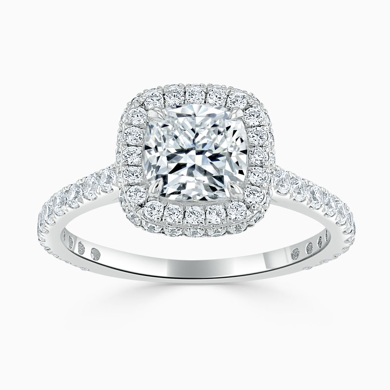 Platinum Cushion Cut Original Halo Engagement Ring