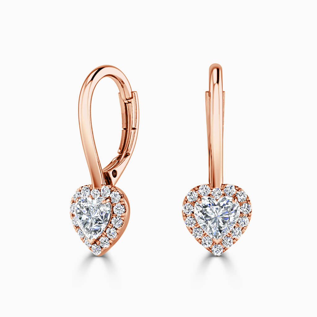 18ct Rose Gold Heart Shape Diamond Drop Halo Earrings Diamond Earrings