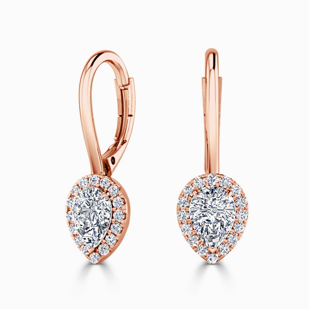 18ct Rose Gold Pear Shape Diamond Drop Halo Earrings Diamond Earrings