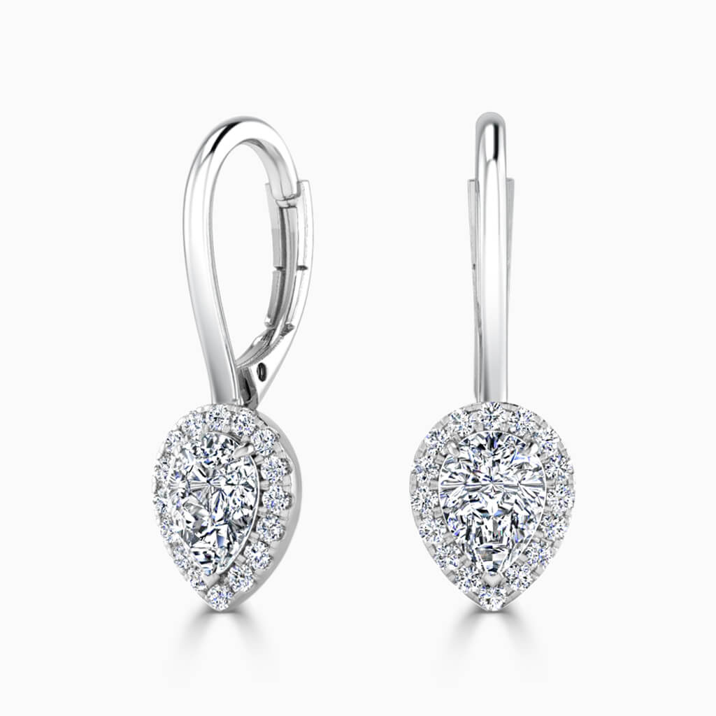 18ct White Gold Pear Shape Diamond Drop Halo Earrings Diamond Earrings