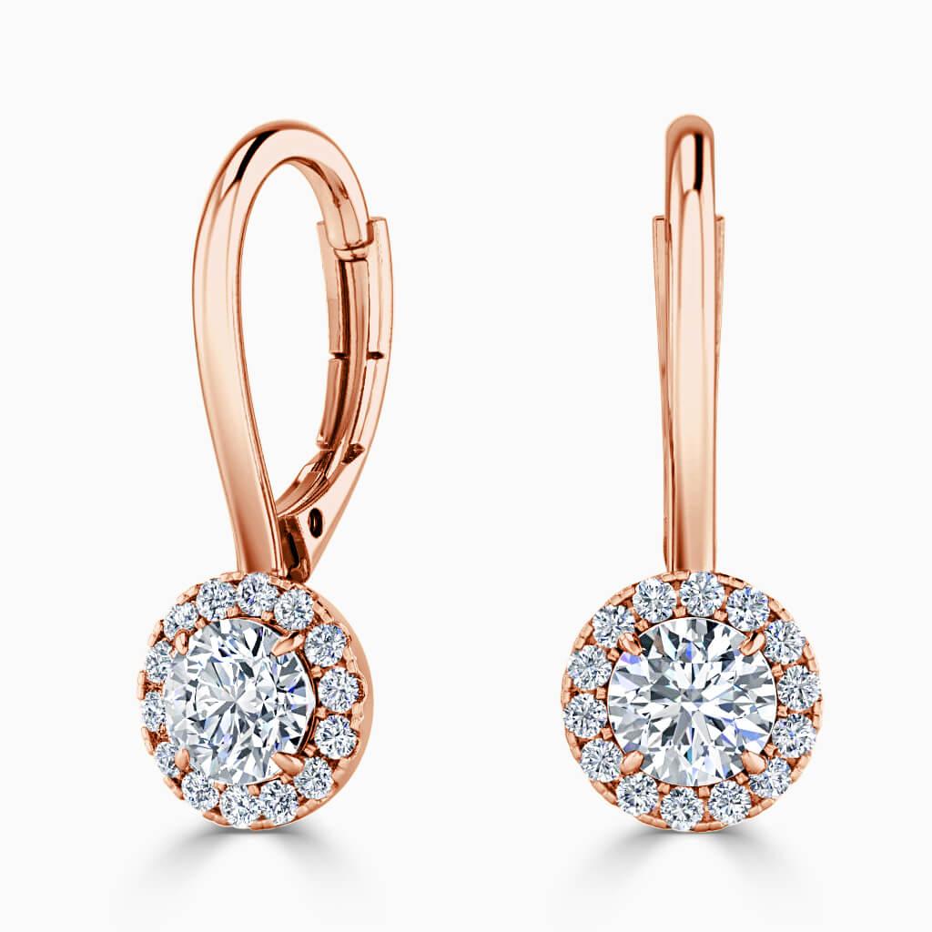 18ct Rose Gold Round Brilliant Diamond Drop Halo Earrings Diamond Earrings