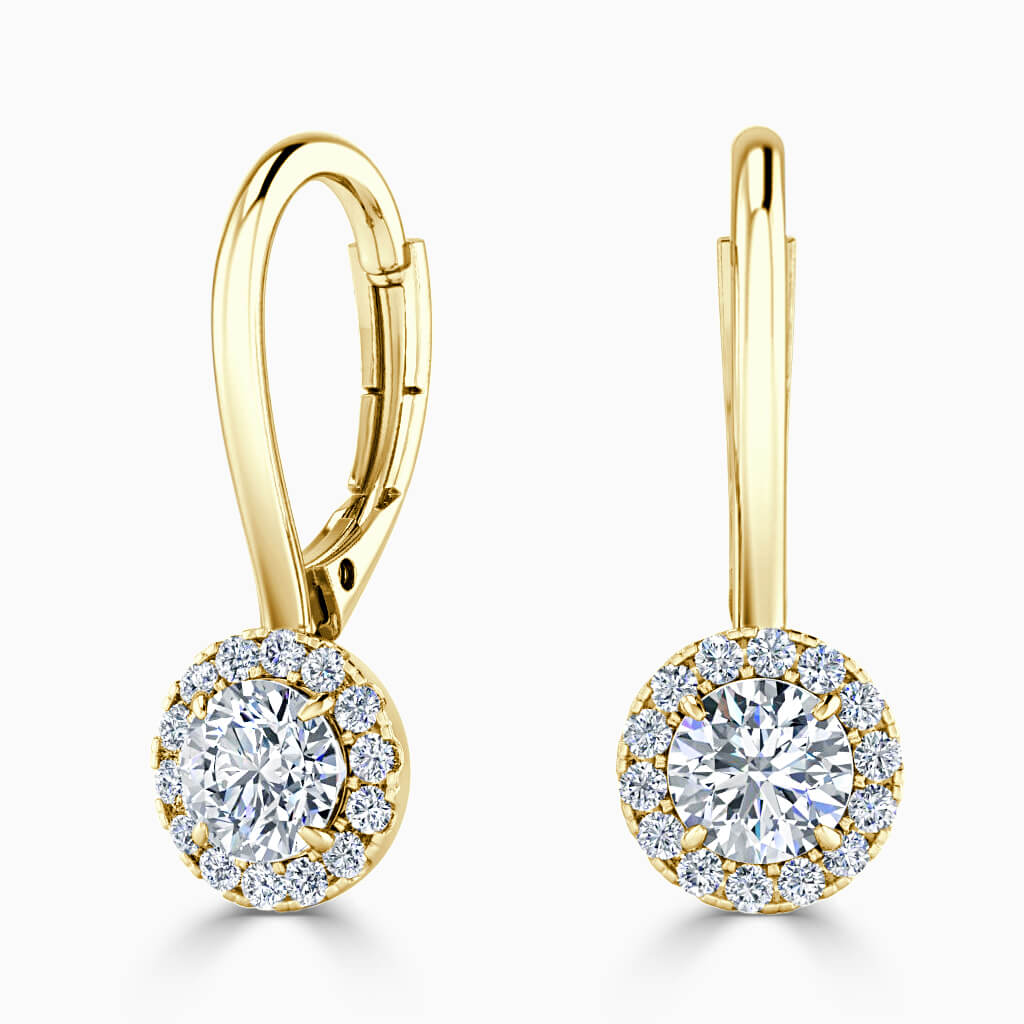 18ct Yellow Gold Round Brilliant Diamond Drop Halo Earrings Diamond Earrings