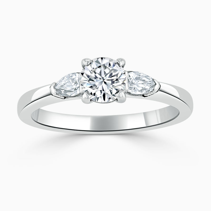 18ct White Gold Round Brilliant 3 Stone with Pears Engagement Ring