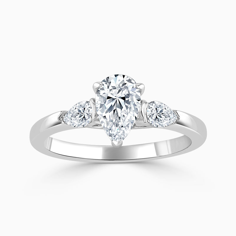 18ct White Gold Pear Shape 3 Stone with Pears Engagement Ring