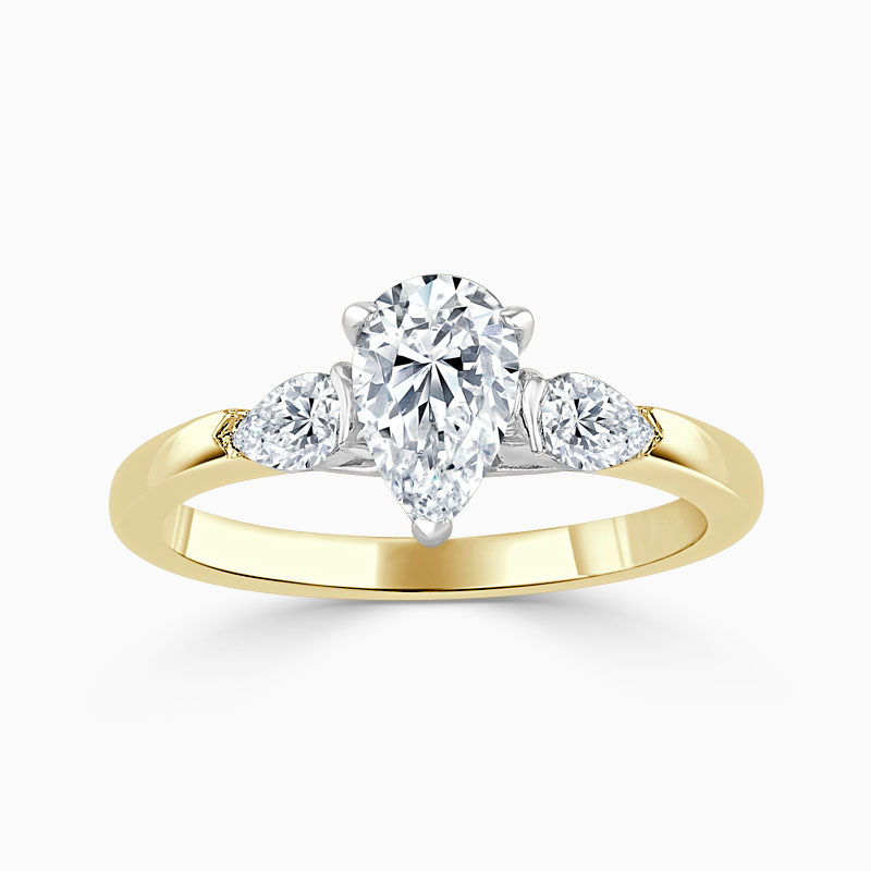 18ct Yellow Gold Pear Shape 3 Stone with Pears Engagement Ring