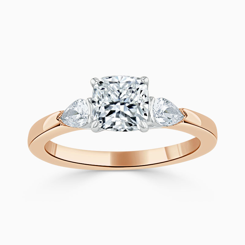 18ct Rose Gold Cushion Cut 3 Stone with Pears Engagement Ring