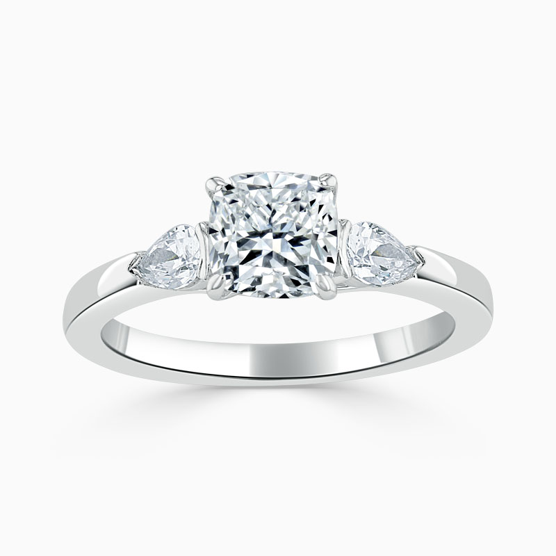 18ct White Gold Cushion Cut 3 Stone with Pears Engagement Ring